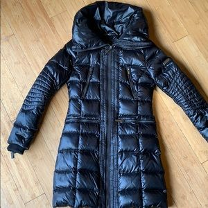 Black Down/feathers filled Puffer Coat XXS
